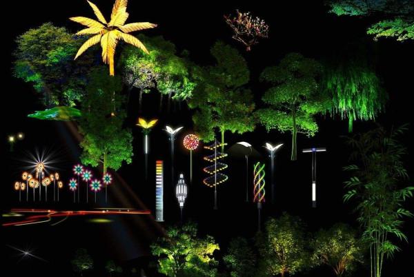植物景观照明夜景图
