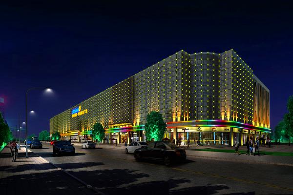 衡水滨湖国际楼体亮化照明工程实拍夜景图