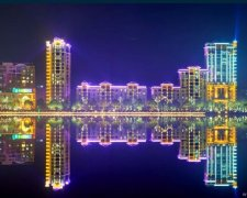 沈阳河畔花园楼体亮化工程案例欣赏