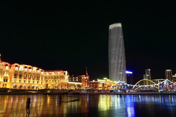 天津津塔夜景亮化工程实景图