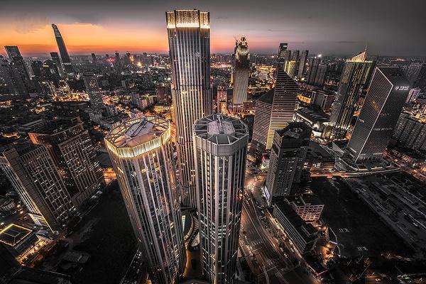 天津富力中心亮化工程夜景效果