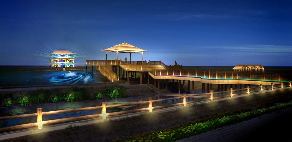 盘锦红海滩亮化工程夜景图3