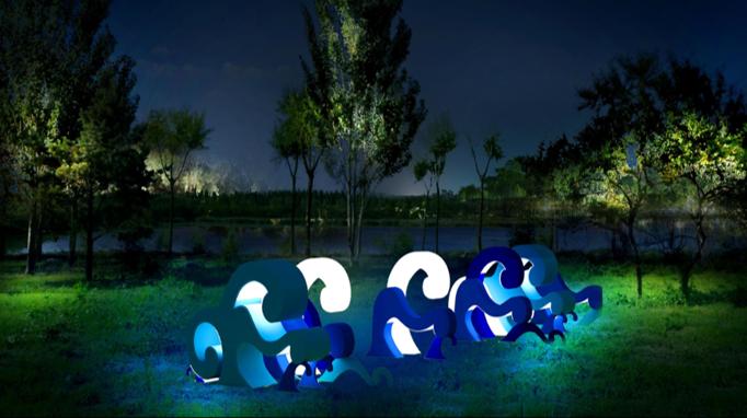 沈阳浑南大学城景观亮化工程夜景图12