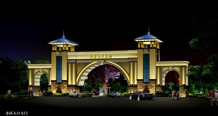 沧州金碧海岸花园小区入口大门亮化夜景图