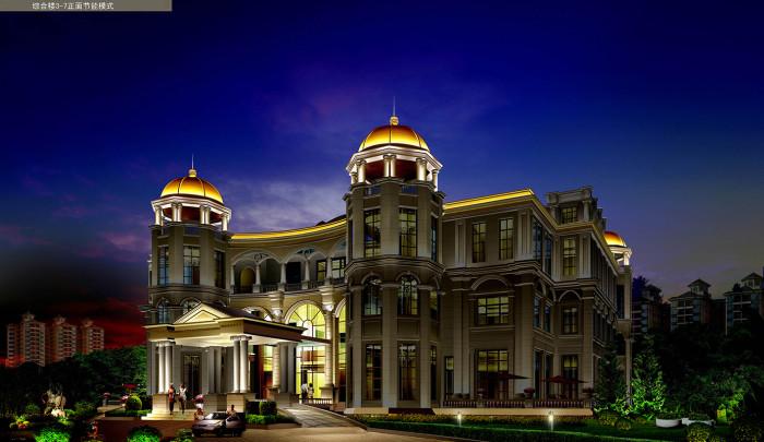 沧州金碧海岸花园小区综合楼正面节能模式亮化夜景图