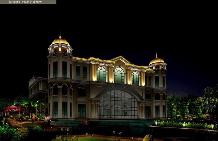 沧州金碧海岸花园小区综合楼背面节能模式亮化夜景图