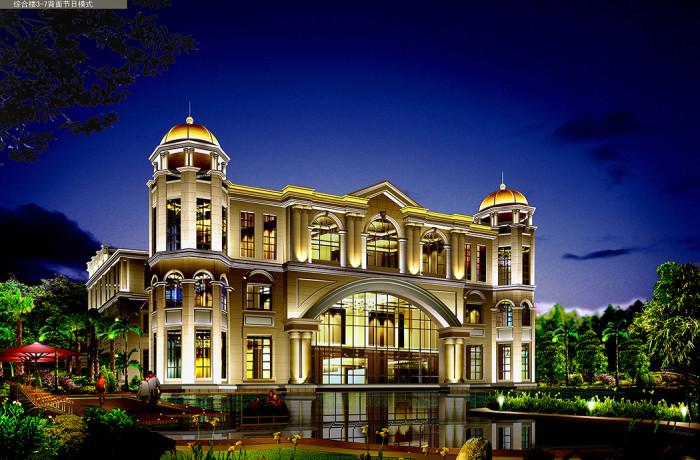 沧州金碧海岸花园小区综合楼背面节日模式亮化夜景图