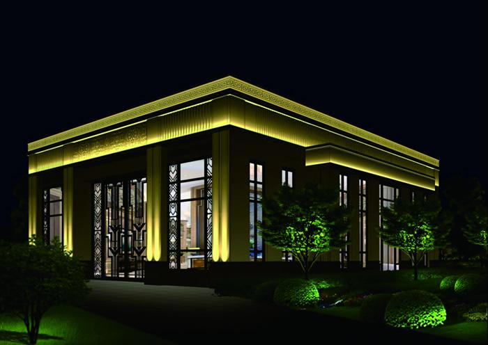 保定中翔地产兰溪九章售楼部楼体亮化工程夜景图1