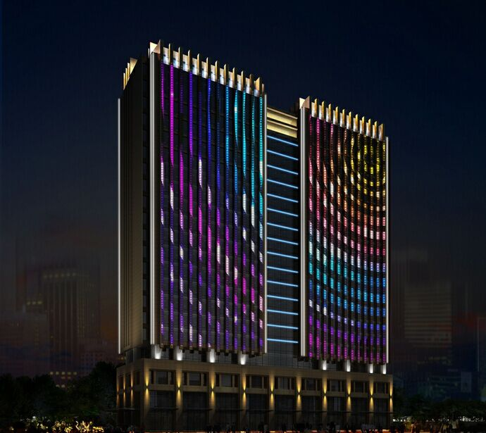 廊坊泰莱大厦楼体亮化工程夜景图2