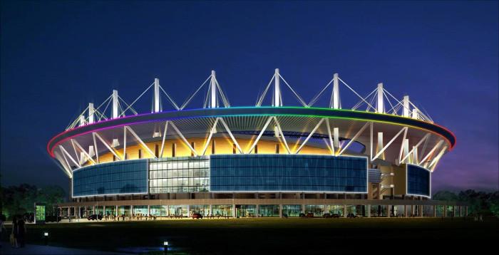 河北奥林匹克体育中心亮化工程夜景图1