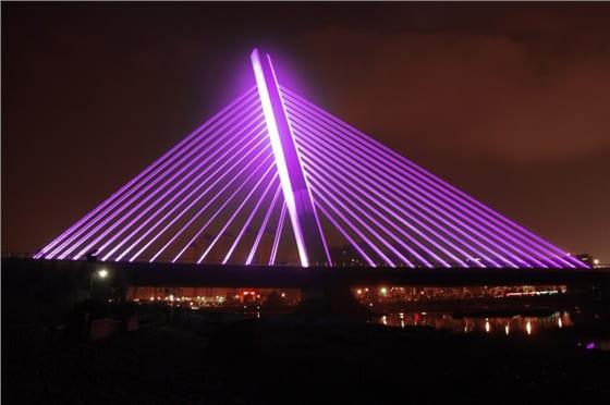 天津河北大街立交桥亮化工程夜景图2