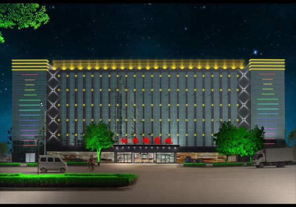 石家庄怀特陶瓷城楼体亮化工程夜景图1