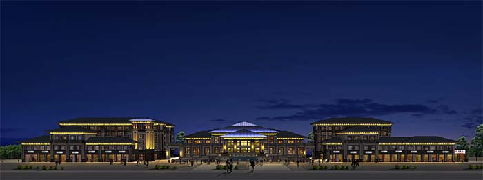 廊坊世嘉正园亮化工程正面视角夜景图