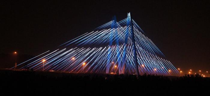 青岛丹山大桥亮化工程夜景图2