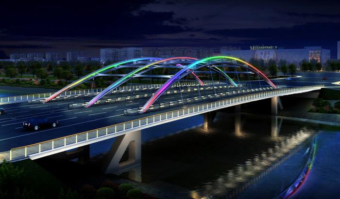 天津北辰龙兴桥亮化工程夜景图1