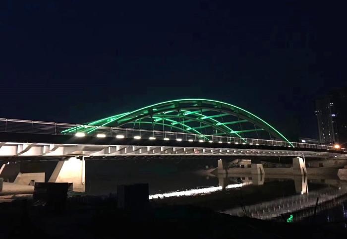天津北辰龙兴桥亮化工程夜景图3