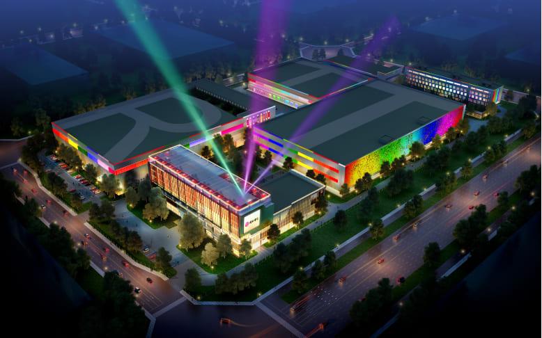 北京同仁堂大兴生产基地亮化工程(重大节日)夜景图