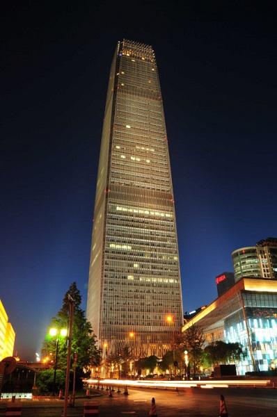 北京国贸大厦楼体亮化实景效果