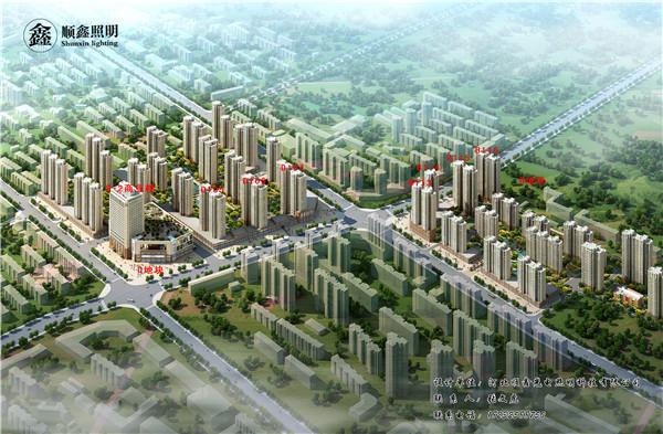 唐山恒大龙庭广场亮化工程效果图3